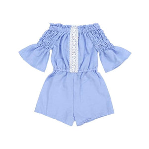 Kryssi Kouture Girls Vintage Blue Lace Off Shoulder Romper
