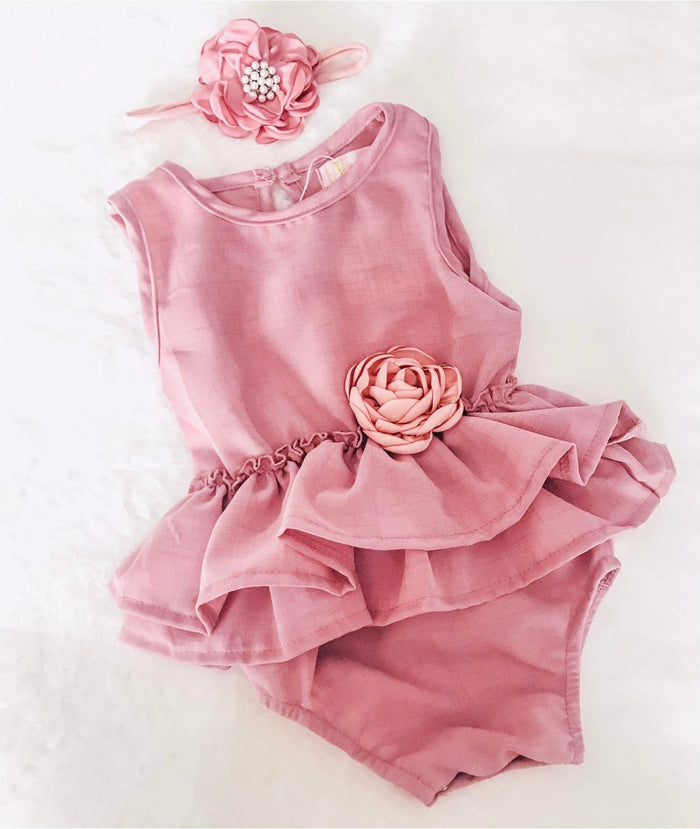 Dusty Rose Pink 2pc Romper Set with Ruffle Waist & Pink Rose Detail