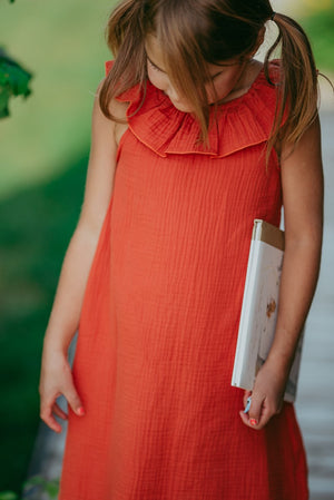 Rust Muslin Linen Fall Dress