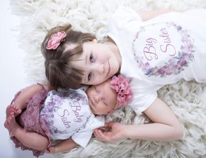 Baby Sister/ Big Sister Matching Floral Wreath Shirts  - Sibbling Shirts -Shower Gift