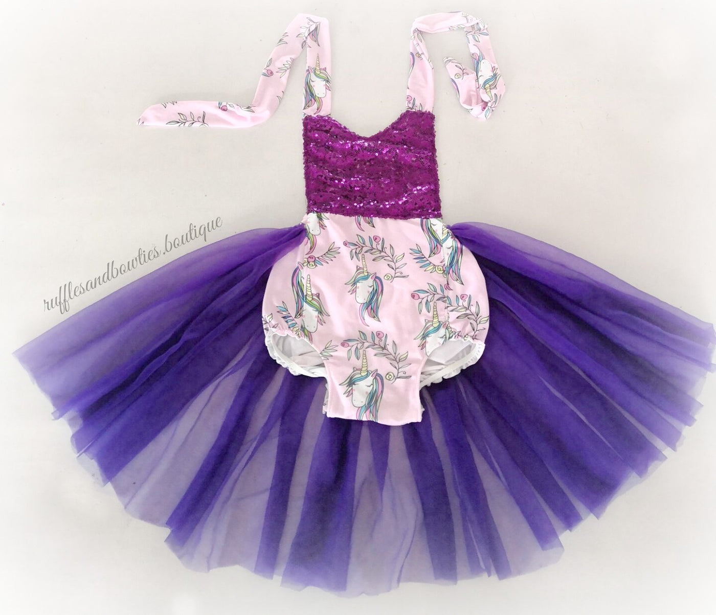 8ab15629c1d8 Kryssi Kouture Mystical Magic Pink and Purple Unicorn Tutu Romper – Ruffles    Bowties Bowtique