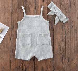 2pc Grey Ribbed Romper