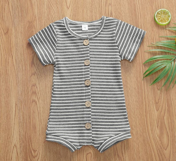 Grey Strippy Button-Down Romper