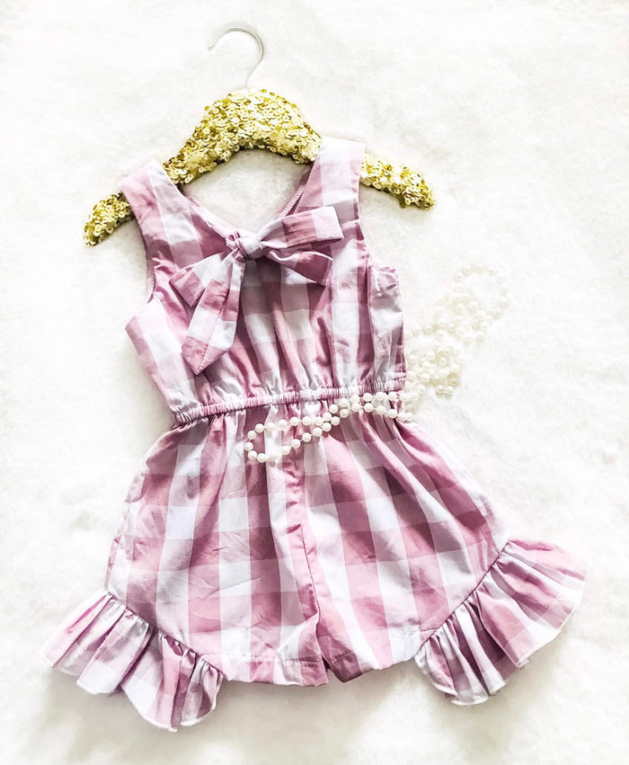 Dusty Pink Plaid Girls Romper