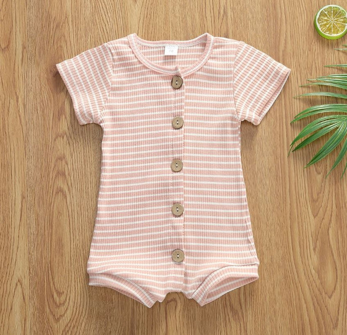 Pink Strippy Button-Down Romper