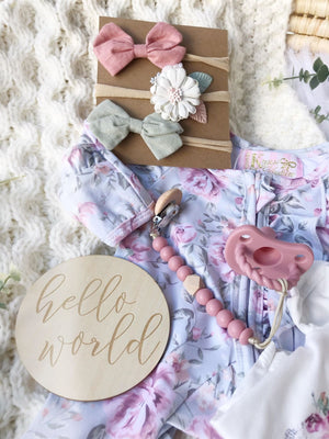 Green Floral Garden 5 Pc  Newborn Set