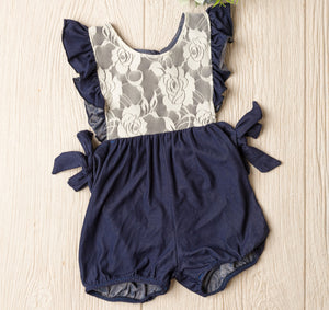 Elizabeth Denim and Lace Romper