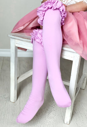 Girls Ruffle Knee High Socks / Lavender