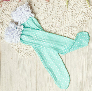 Girls Ruffle Knee High Socks / Teal Polka Dot