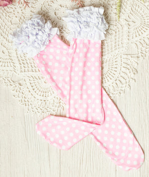 Girls Ruffle Knee High Socks / Pink Polka Dot