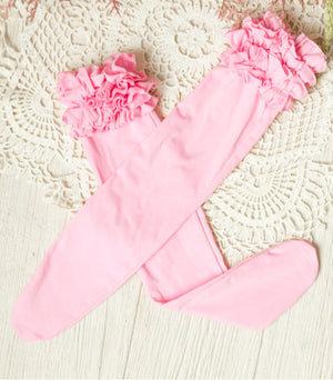 Girls Ruffle Knee High Socks / Pink