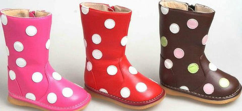 Leather Cute As Can Be Polka Dot Squeaky Boots