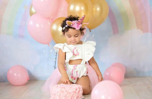 Unicorn Panel Ruffle Tutu Birthday Romper