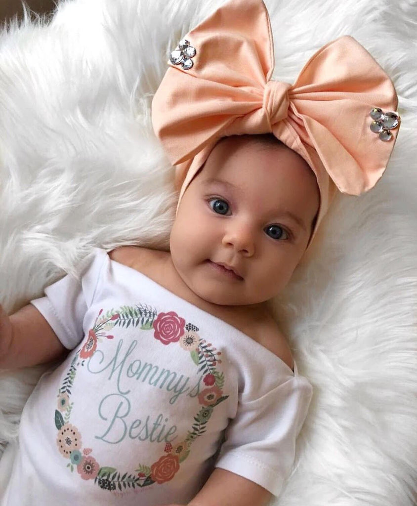 Vintage Peach & Aqua Floral Wreath Mommy's Bestie Onesie/Shirt - Complete Outfits  Available