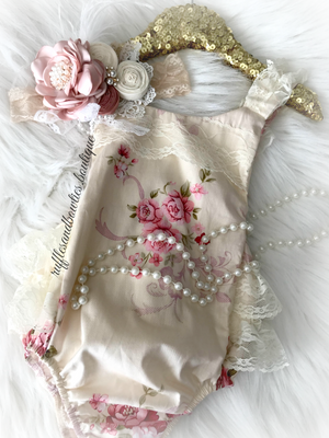 Baby Girls Hazel Ruffled Lace and Vintage Floral Romper