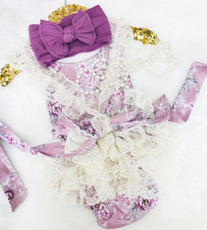 Kryssi Kouture Mauve Floral Ruffled Lace Bum 2 Pc Set