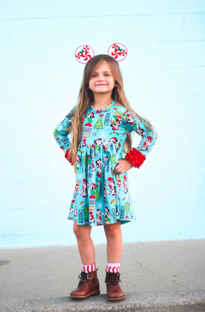 Turquoise Minnie Long Ruffle Sleeve Dress