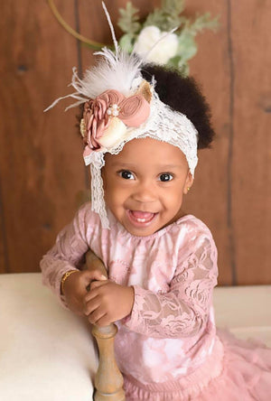 BEST SELLER - Kryssi Kouture First Birthday Dusty Lace Leo Sets with Rose Gold One