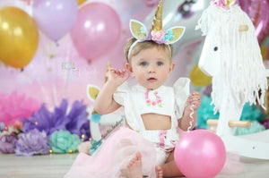 Unicorn Panel Ruffle Tutu Romper