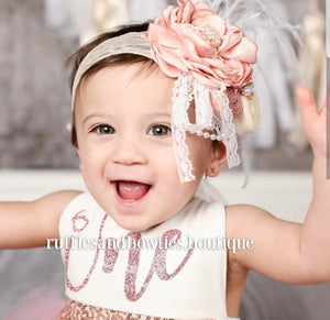 Kryssi Kouture Exclusive Girls First Birthday Darling Dazzle Rose Gold 1st Birthday TUTU Romper