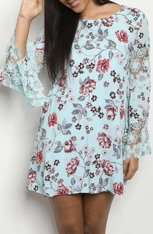 Oriental Bloom Lantern Lace Sleeve Tunic - Aquamarine