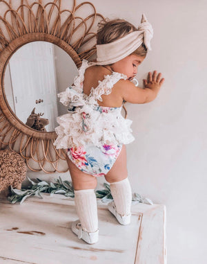 Baby Girls Belle Vintage Cotton and Alencon Lace Tutu Romper
