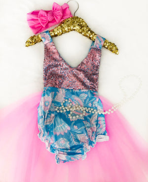 NEW - Kryssi Kouture Bubble Gum Blues First Birthday Tutu Romper