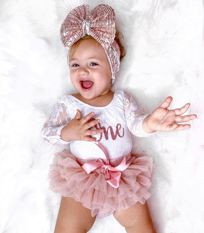 BEST SELLER - Kryssi Kouture First Birthday White Long Sleeve Lace Leo Sets with Rose Gold One