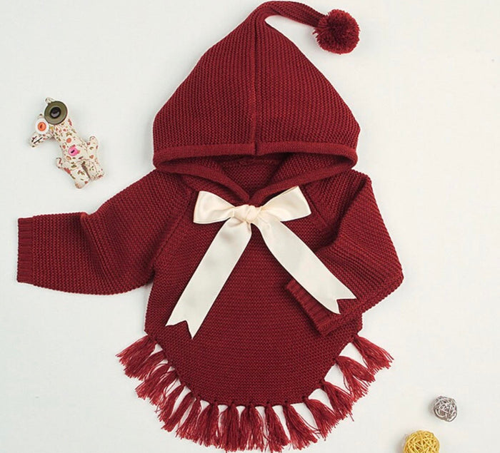 Burgundy Chunky Knit Hood Sweater