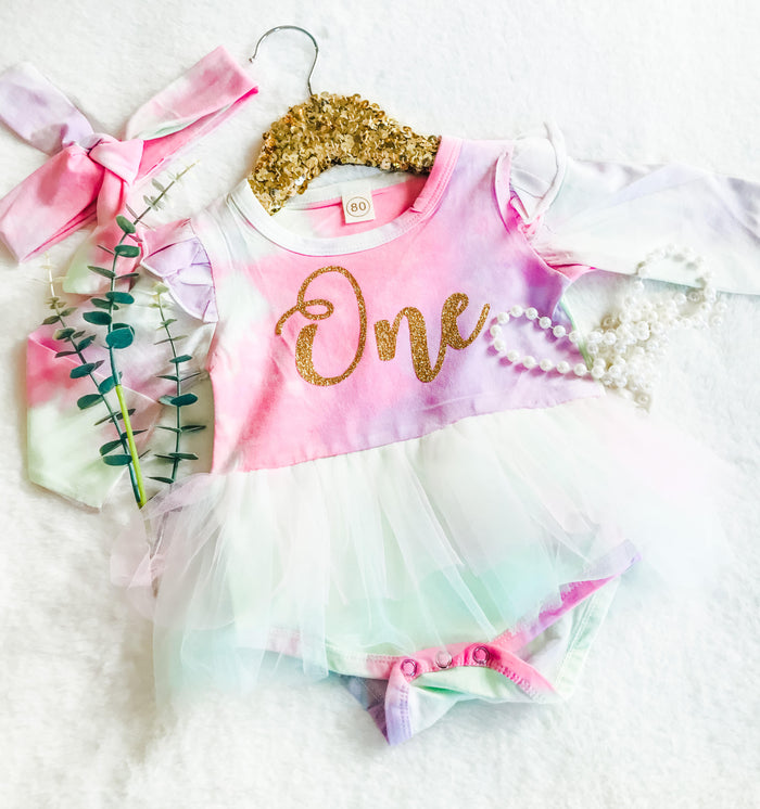 First Birthday Tie Dye Tutu Dress & Head Wrap