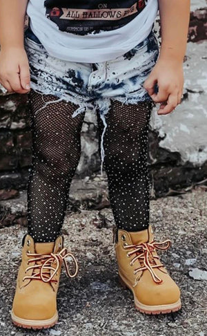 Girls Sparkle Rhinestone Fishnet Tights