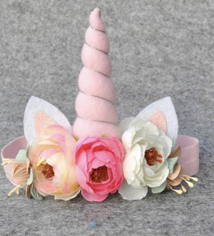 Girls Sweet Pastel Floral Unicorn Head Band