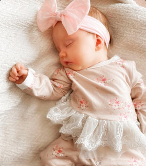 3 Pc Floral Melody High Waisted Bummies, Ribbed Romper & Knot Headband Set