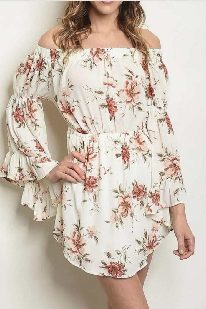 Ladies Off The Shoulder Vintage Rust Floral Shift Dress