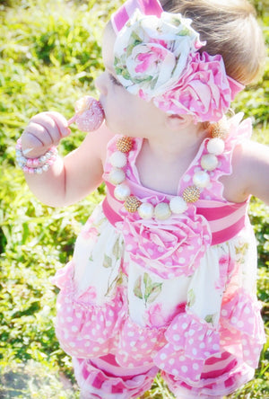 Girls Rose Garden Two Piece Icing Ruffled Set
