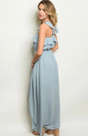 Ladies Dusty Ice Blue High Low Dress