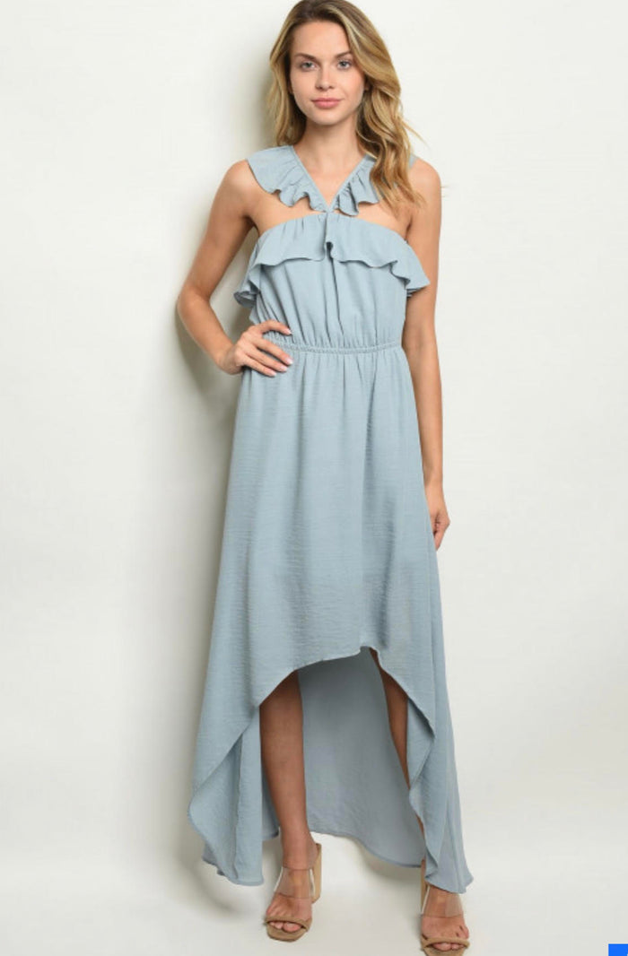 Ladies Ice Blue High Low Dress