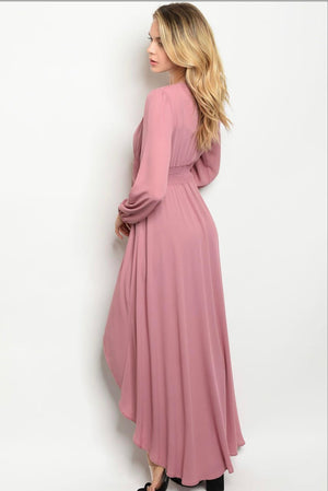 Ladies Dusty Rose Chiffon High Low Duster Kamona