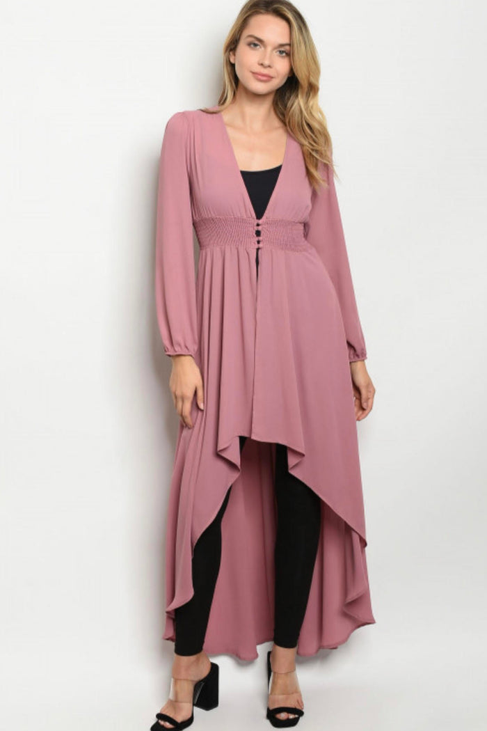 Ladies Dusty Rose Chiffon High Low Duster Kimono