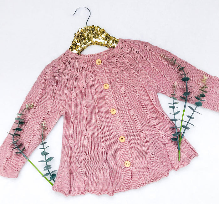 Isabella Dusty Rose Button Up Sweater Cardigan