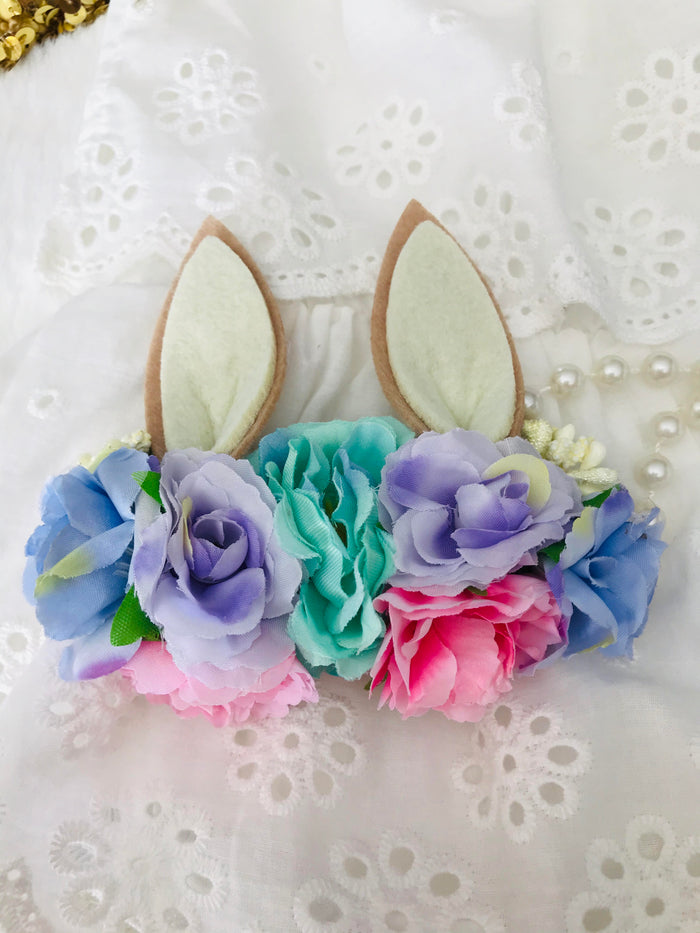 Girls Sweetest Bunny Ear Pastel Aqua, Purple and Pink Easter Floral Headband