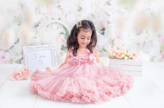Kryssi Kouture Exclusive Girls Dusty Rose Spencer Tulle Twirl Dress