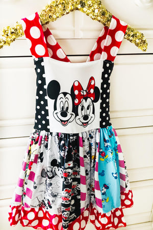Mickey & Minnie Black & Red Spin Dress