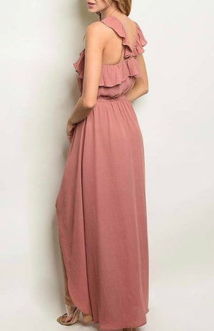 Ladies Dusty Rose Ruffle High Low Dress