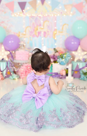 Girls Purple And Aqua First Birthday Party Dress