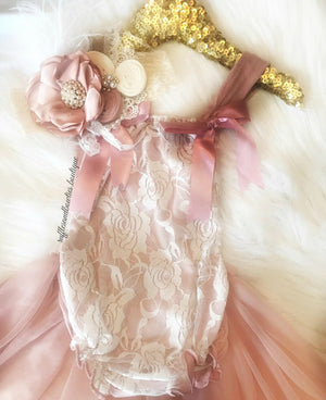 Kryssi Kouture Exclusive Vintage Rose & Lace Tutu Romper