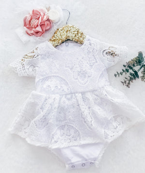 Skirted  Lily Boho Vintage Lace Baby Girl Wing Sleeved Romper