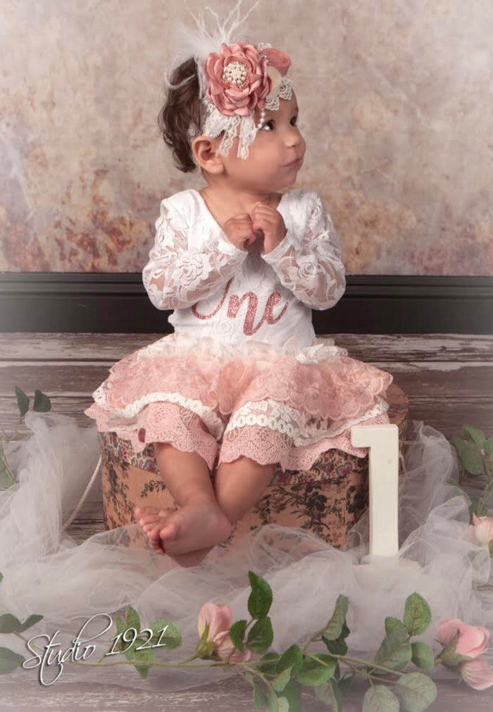 Kryssi Kouture First Birthday White Lace Long Sleeve Lace Leo & Blush Lace Tutu