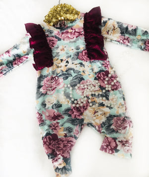 Mabel Rose Floral Velvet Jumpsuit