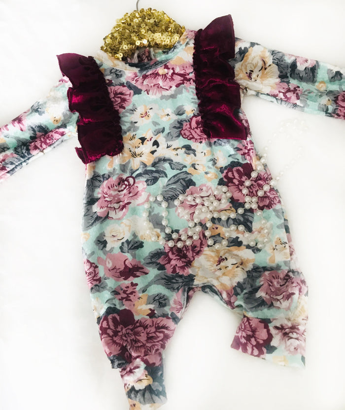 Bella Rosetta Lace One-Piece Baby Girl Romper